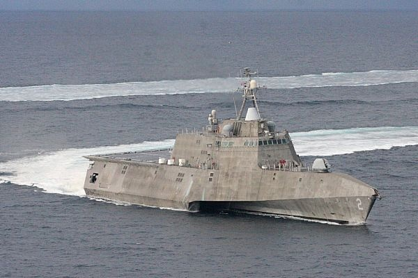 The littoral combat ship USS Independence (LCS 2) operates in the waters off Southern California.