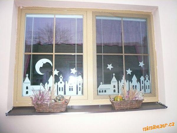 Zimní městečko-vystřihovánka na okno