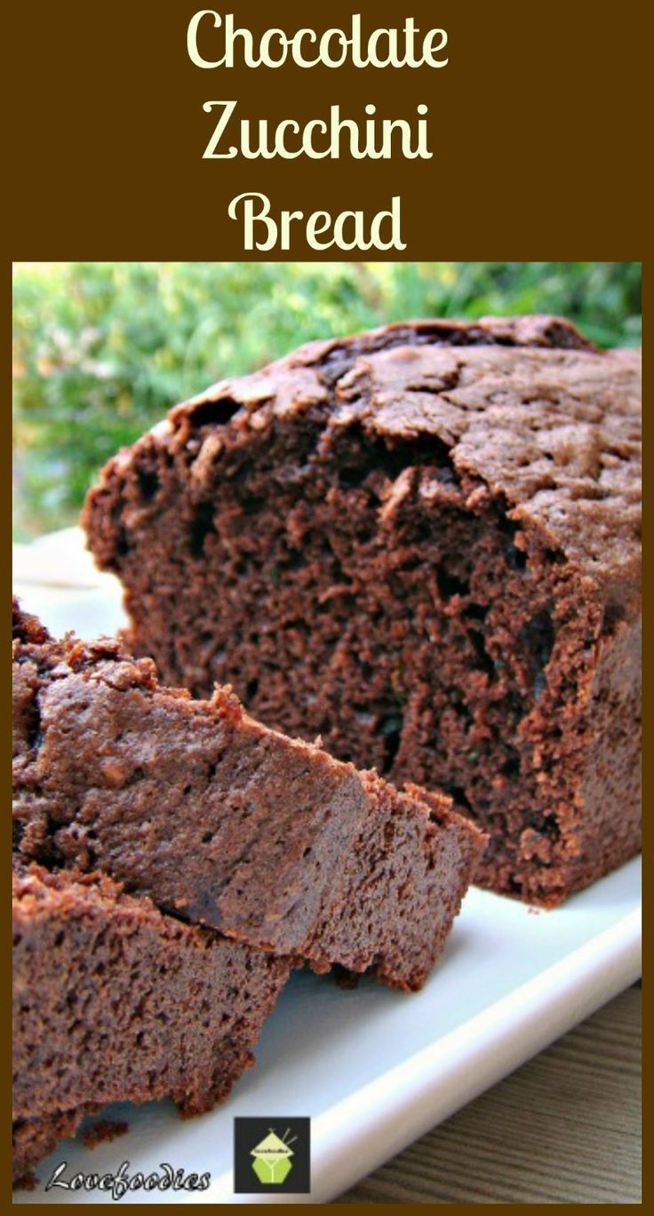 Moist Chocolate Zucchini Bread. This is a moist, soft loaf / pound cake, and incredibly easy to make. | Lovefoodies.com