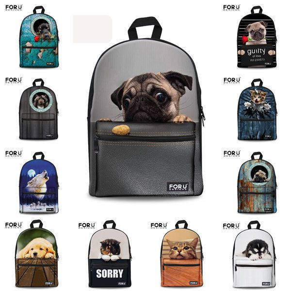 Pug Dog Cat Canvas School Bag Travel Backpack Satchel ...