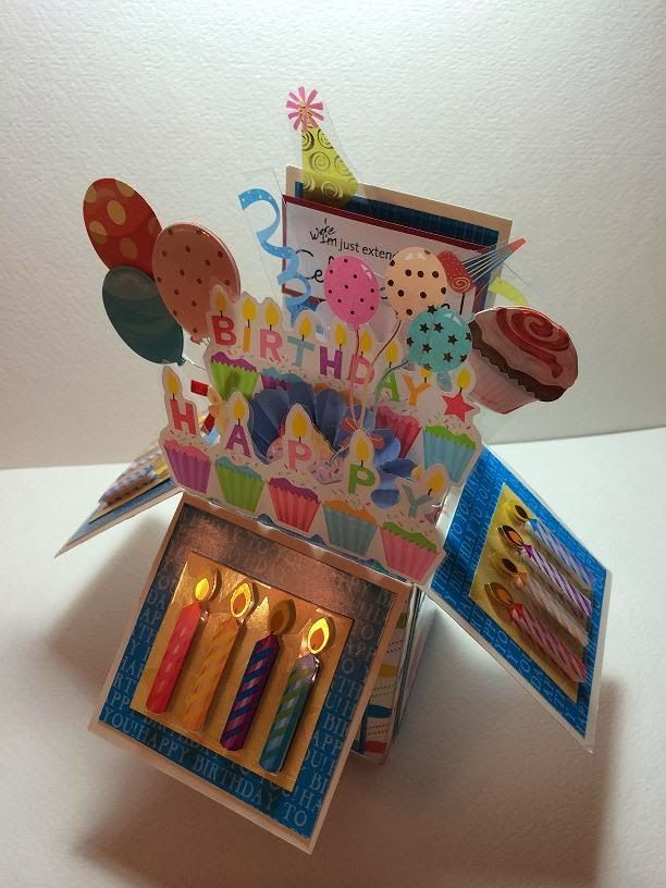 A Birthday Celebration!My latest Card-in-a-Box!How cool is this...when I took the picture, the flash caused the candles to appear as if they are lit!I modified the original instructions for the Card-i