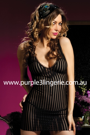The 'Till Dawn' Chemise & Thong by Seven 'Til Midnight (Style 9475P). Available from Purple3 Lingerie Australia - http://www.purple3lingerie.com.au/Product/276/till-dawn-chemise-thong-black
