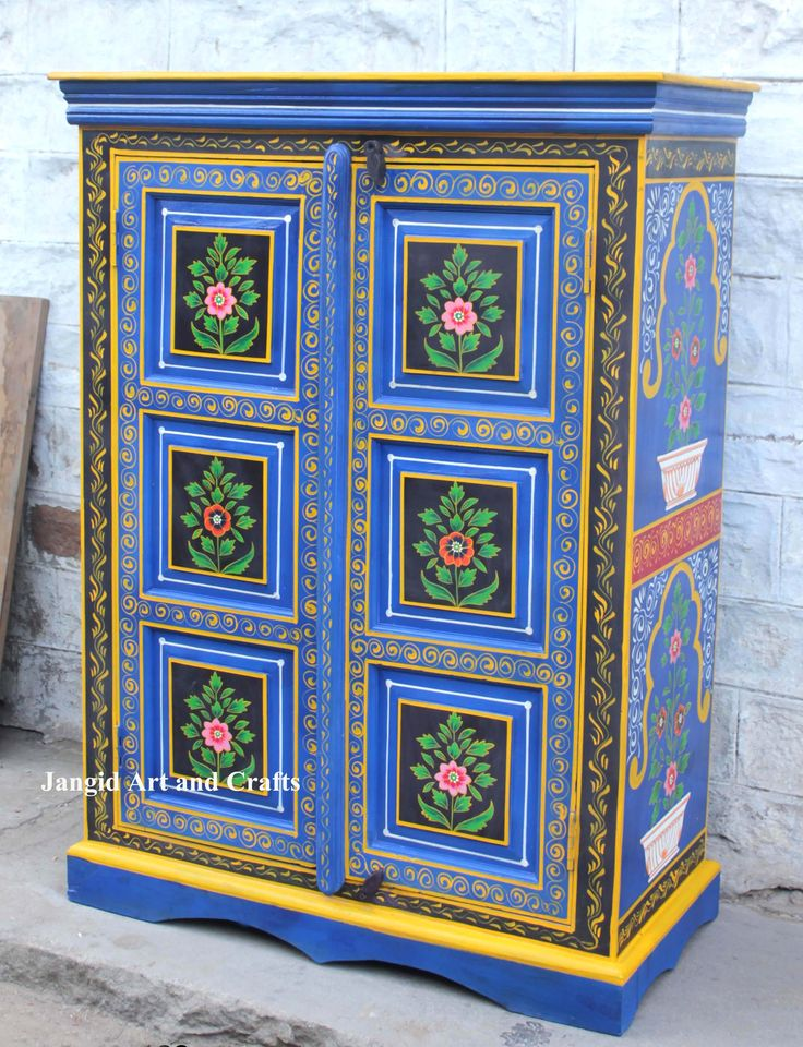 Jangid Art & Crafts / Wooden Hand Painted Almirah Design / Painted Wooden Sideboard Cabinet