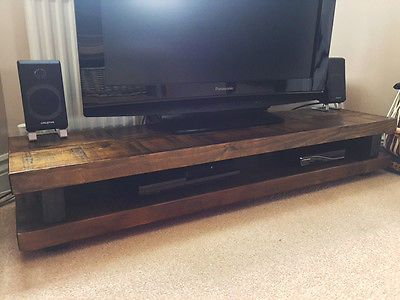 N7 Solid Wood TV Stand Dark Oak Distressed Timber Rustic Chunky Shabby Chic