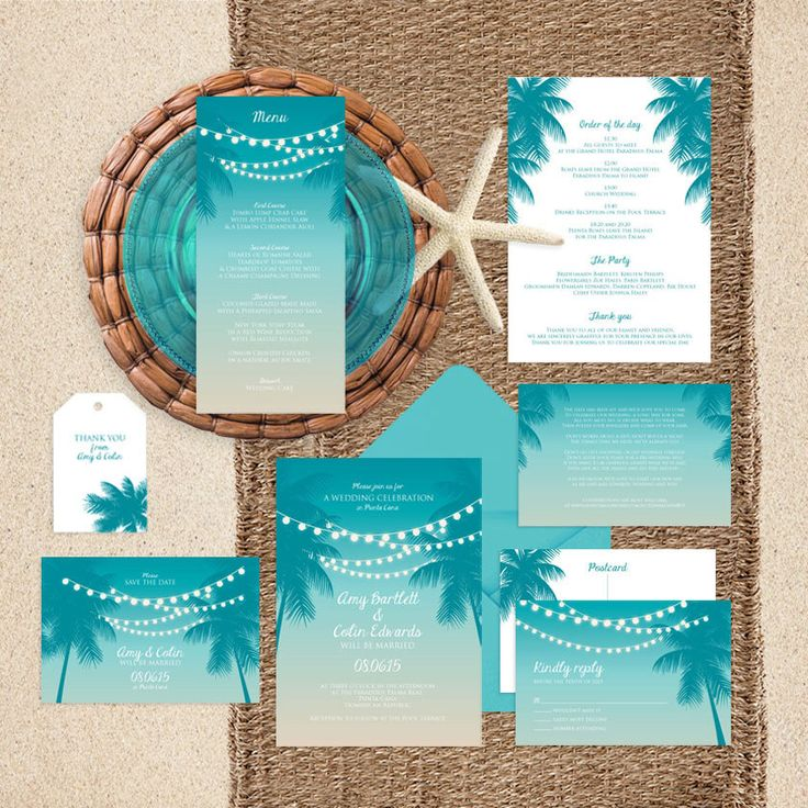 beach wedding invitation examples%0A printable wedding invitation suite tropical nights  modern beach themed  palm tree string of lights invite