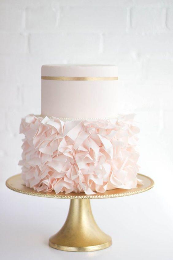 Pretty blush and gold ruffle cake: