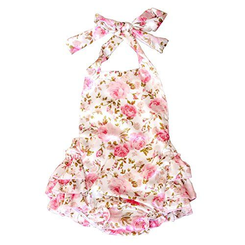 Material: Polyester satin Halter and Backless 3 Layers skirts on the hip Lisianthus Baby Girls' Ruffles Romper Dress Summer Clothing