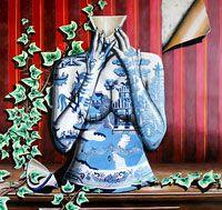 Retz - Blue Willow Acrylic on Canvas 95x90cm  South Yarra Art House AU