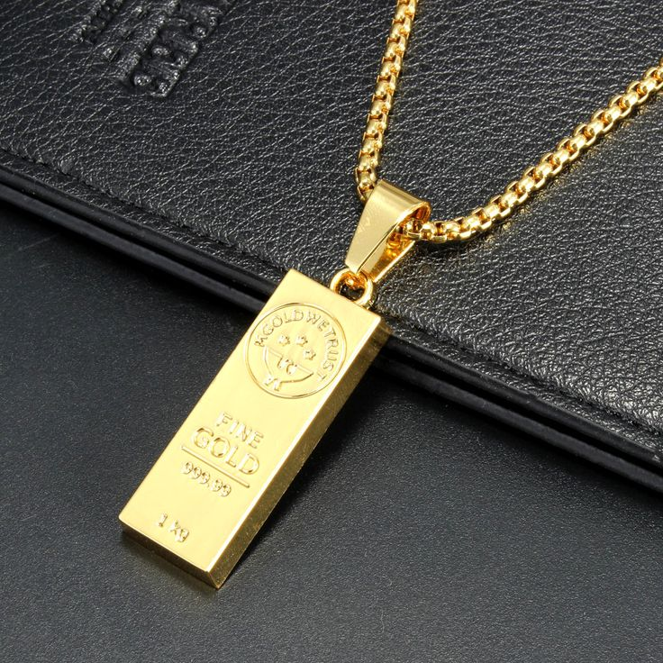 18K Gold Bar Hip Pop Men Chain Necklace Jewelry