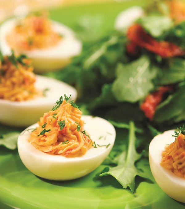 Hummus No Mayo Deviled Eggs Recipe.  Yes please...