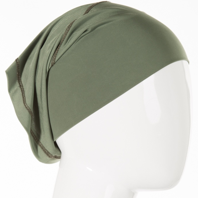 SPARKLE LYCRA BAND - OLIVE (B660) 5.99CAD B660 This square headband is chic and comfortable. The epitome of simplicity, simply slip this square band over your head like a necklace and then pull up and over your face until it covers your hair. The secure fit holds all of your locks in place and will keep your hijab from slipping out of place. With the square headband, there is no fidgeting or adjusting any tightness or length as it is one simple piece that does a wonderful job!
