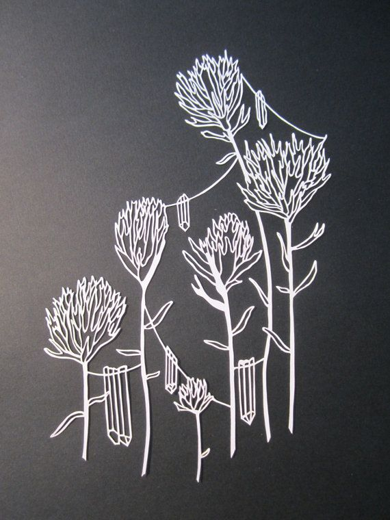Magical Flower and Crystal Papercut Series 1  Indian by HybridJ