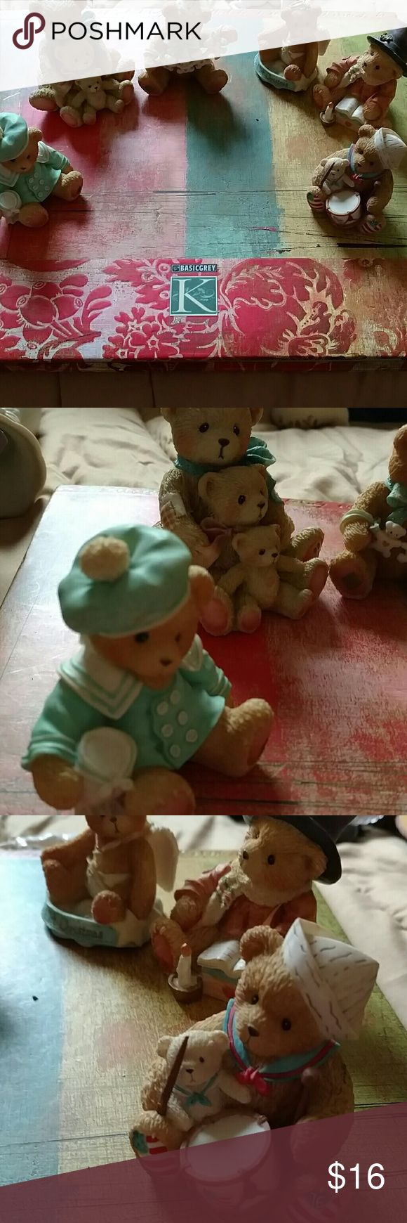 6 piece Teddy collectibles 4 in like new condition . Two of the figurines have broken please see picture number two and three her close-up. 6 piece Vintage cherished Teddy collectible figurines Other