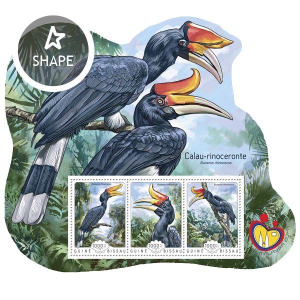 Post stamp Guinea-Bissau GB 14601 aRhinoceros Hornbill (Buceros rhinoceros)