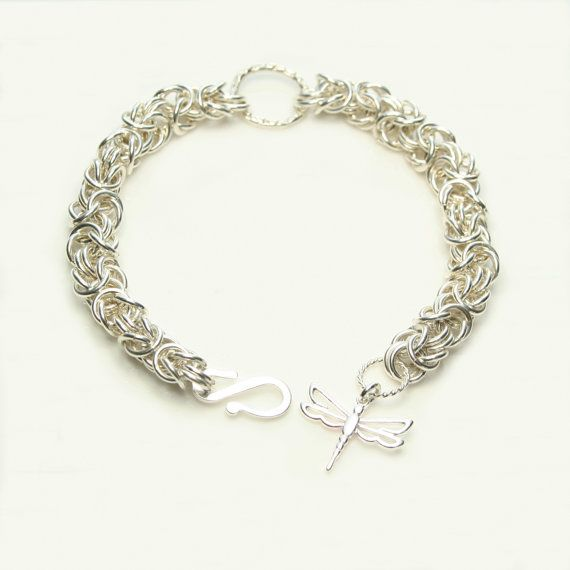 Sterling Silver Byzantine Bracelet with Hammered by FionaKDesigns
