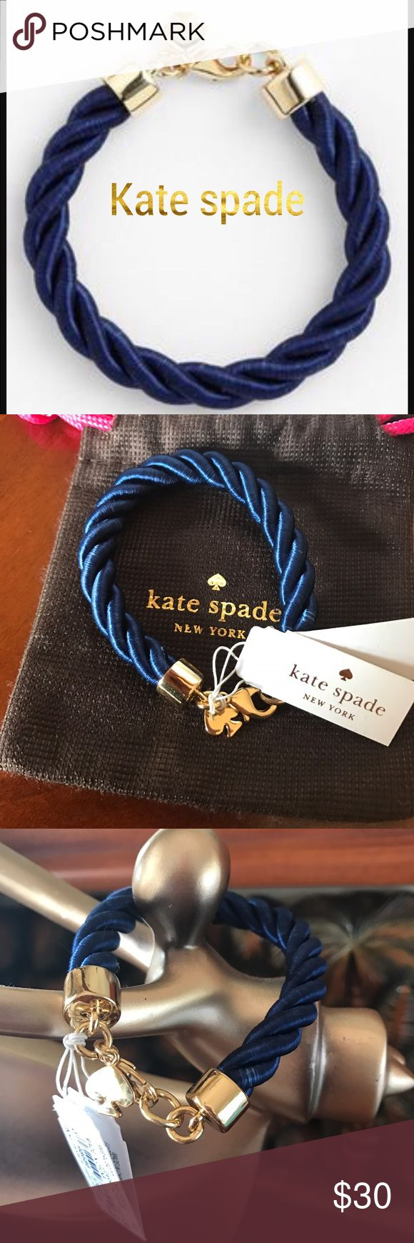 Kate spade Learn the Ropes bracelet Kate Spade Authentic Rope Bracelet. Comes With Dust Bag! Navy Blue Rope With Gold Charms And Clasps.♠️🚫no trades ❌ kate spade Jewelry Bracelets