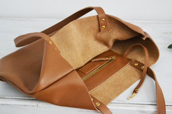 ROME CUIR MARRON sac cabas grand sac italien de galets par KadoBag