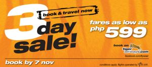 3 Day Sale from Tiger Airways for only P599!