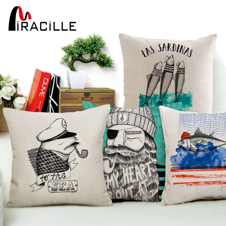 Miracille Cartoon Series Sketch Animals Printed Cushion Cover Cotton Linen Beige Pillow Case for Sofa Car Covers Home Decorative #Affiliate