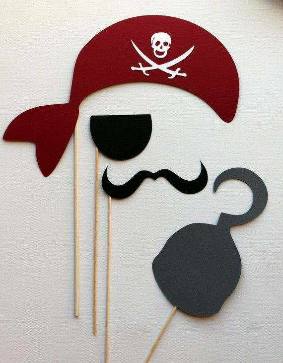 Pirate photo booth accessories are great for pirate birthday parties for little boys and grownups. Argggh!