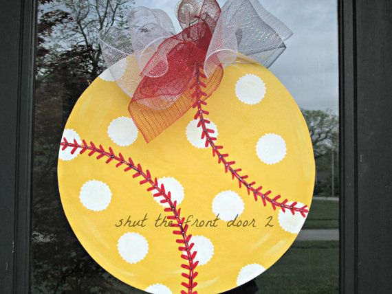 wooden softball door hanger softball wreath by shutthefrontdoor2, $40.00