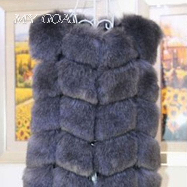 Winter Warm Vest New Arrival Fashion Women Import Coat Fur Vest High-Grade Faux Fur Coat Fox Fur Long Vest Black Plus Size