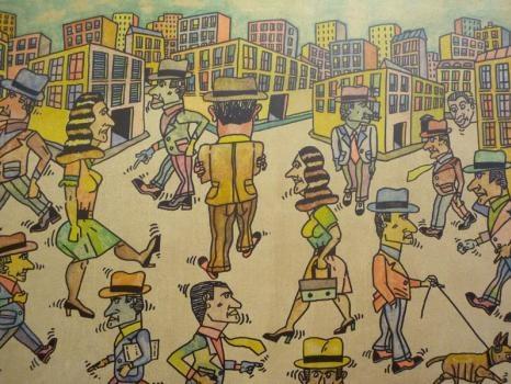 """Antonio Segui """"La ciudad al frente"""" acrylique sur toile, 81 x 65 cm, 2011"""