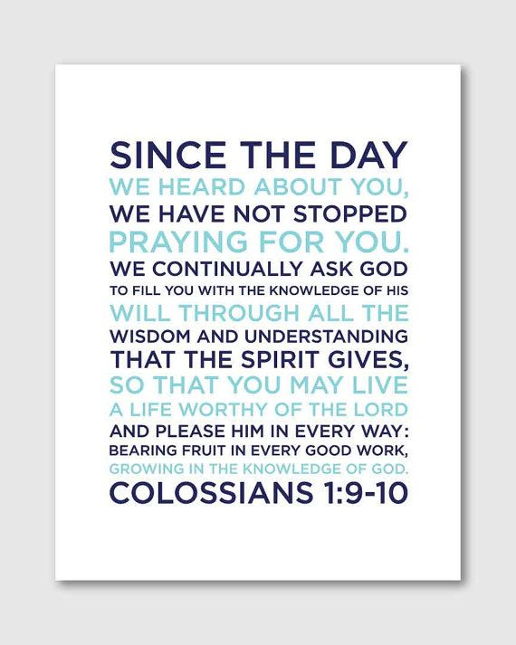 Colossians 1:9-10 Boy Nursery Bible Verse Art Nursery by DesignGem. In charcoal and turquoise