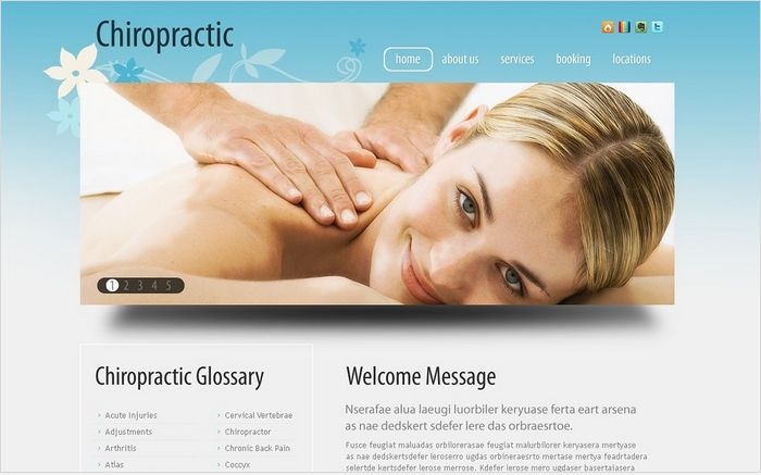 Chiropractic Therapeutic Facebook HTML CMS Templates by Delta