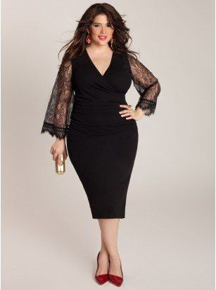 Paola Plus Size Dress - Plus Size Evening Dresses by IGIGI. I love the sleeves.(ngro manga encaje)