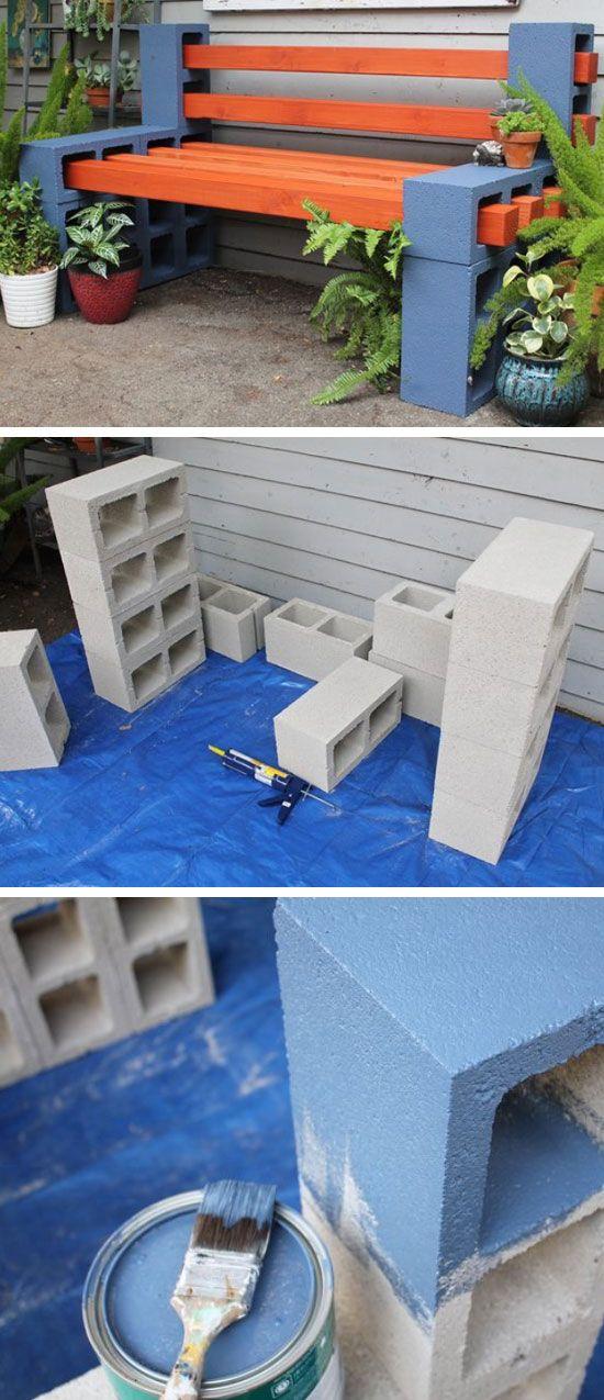 How To Make a Simple Outdoor Bench   DIY Garden Projects Ideas Backyards   DIY Garden Decoartions Budget Backyard   house furniture