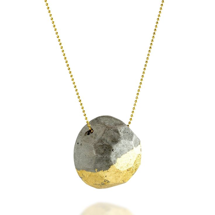 Concrete Gem Necklace on a Gold Chain, Concrete and Gold Geometric Pendant, Handmade Cement Jewelry, BAARA Jewelry, Statement Short Necklace