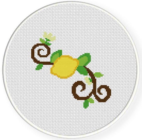 FREE Lemon Branch Cross Stitch Pattern