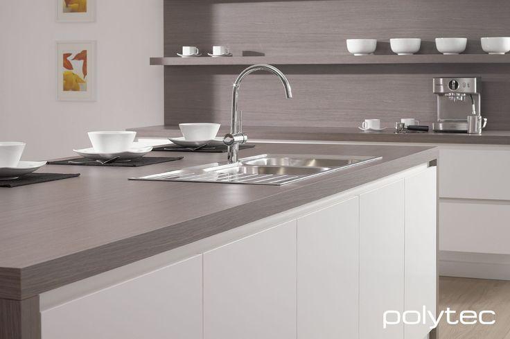 Flat Pack Kitchens >> polytec LEGATO Crisp White and LAMINATE Artisan Oak Matt | polytec LEGATO super matt | Kitchen ...