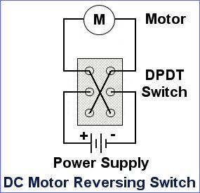 DC motor reversing switch - wiring diagram