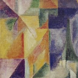 Contrast the colors go from bright and colorful to shady and grayish. The different colors standout.    Artist: Robert Delaunay