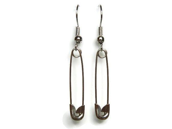 XL safety pin earrings, punk earrings, steampunk earrings, metalic earrings, safety pins, safety pins dangles, death metal, black metal