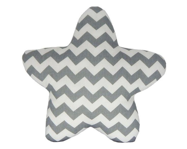 Almofada Estrela Chevron Cinza. Ideal para decoração de berço, quartos de bebês, nichos, prateleiras, chá de bebê, sessão de fotos, e decoração em geral.