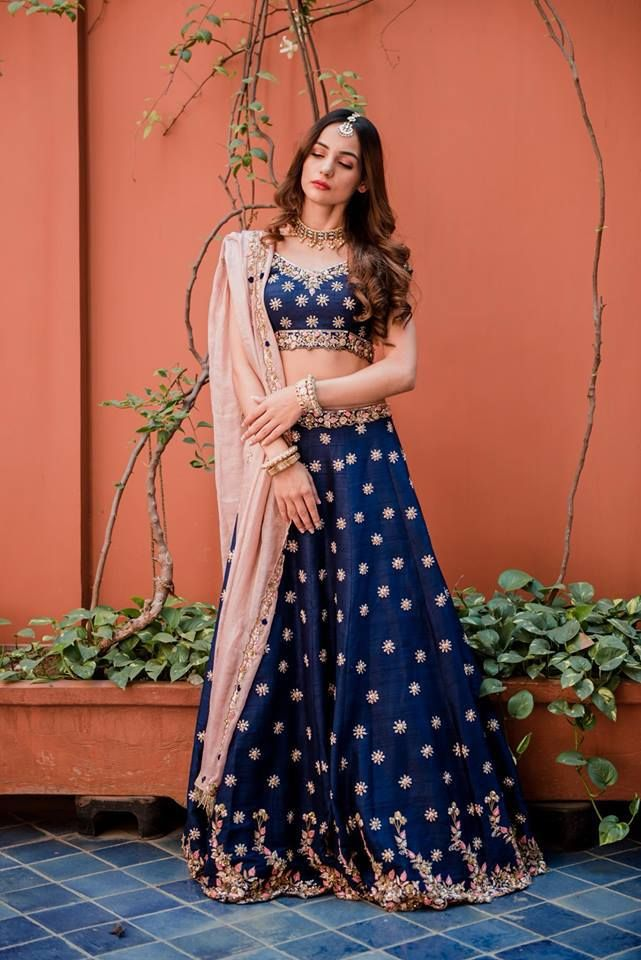 3be370f7c2 How stunning is this navy blue lehenga set with the baby pink dupatta by  Pleats Mumbai #Frugal2Fab