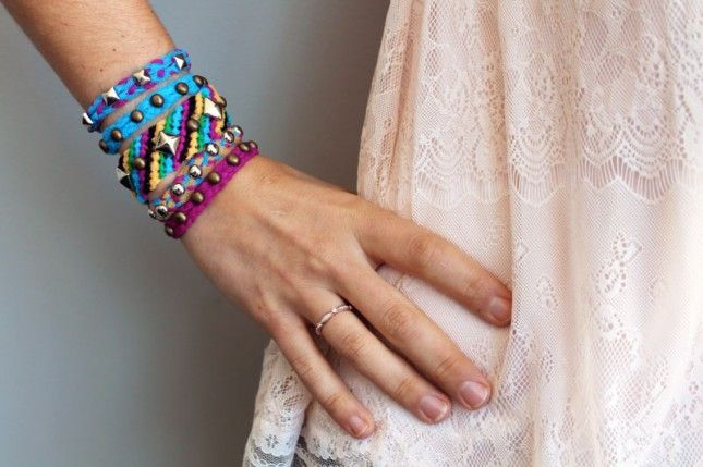 You'll Never Guess What We Used to Make These Studded Bracelets! via Brit + Co.