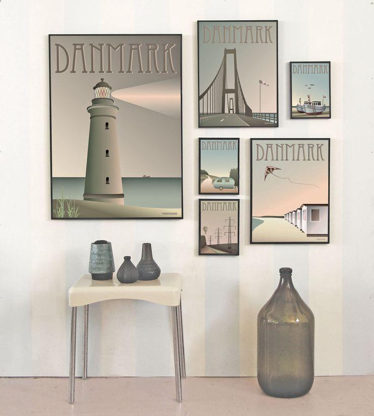 Danish posters of characteric spots in Denmark from ViSSEVASSE.