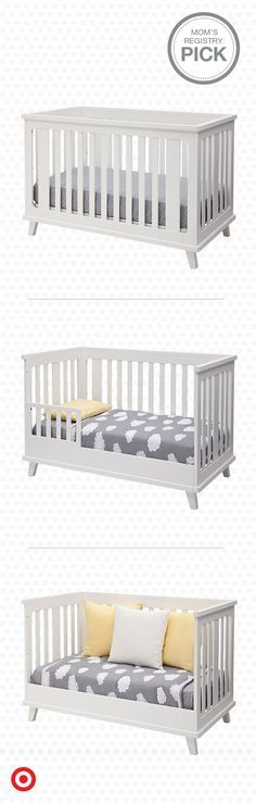 Versatile and modern, the Delta Children Ava 3-in-1 convertible crib adjusts with your growing child, transitioning from crib to toddler bed with rail to a daybed. In white, it has a clean, contemporary look that will look perfect in any nursery. It's easy as 1-2-3. Liapela.com