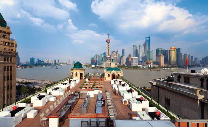 Swatch Art Peace Hotel, Shanghai The rooftop terrace of the Swatch Art Peace Hotel in Shanghai. Formerly known as the Palace Hotel (opened in 1909), the building has been re-set as an 'art residence' for jet-set artists and travellers by new leaseholders, the Swatch Group