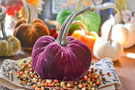 1 Large Bordeaux Silk Velvet Pumpkin Fall by TheVelvetHarvest