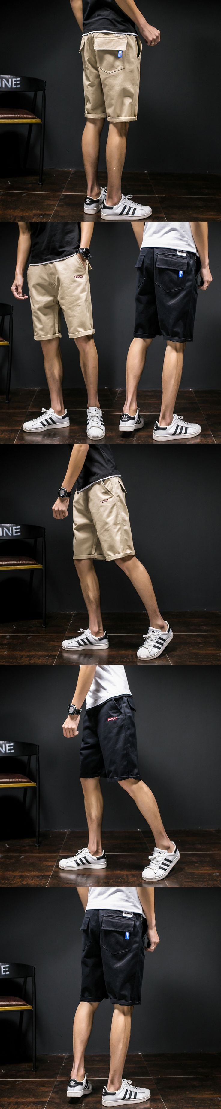 2017 Men Summer Knee Long Overalls Casual Mid Waist Fashion Cotton Slim Shorts Large Size Workout Trousers With Pocket 4xl 5XL