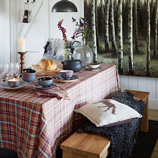 Country dining room with tartan tablecloth | Decorating
