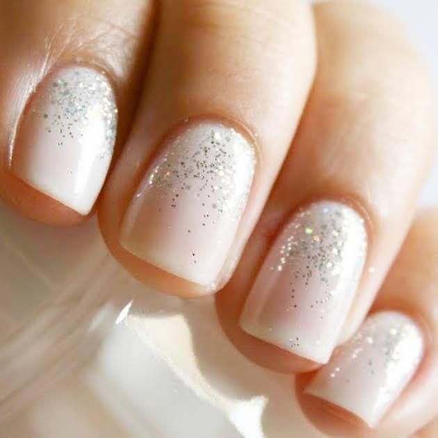 Nude glitter wedding nails