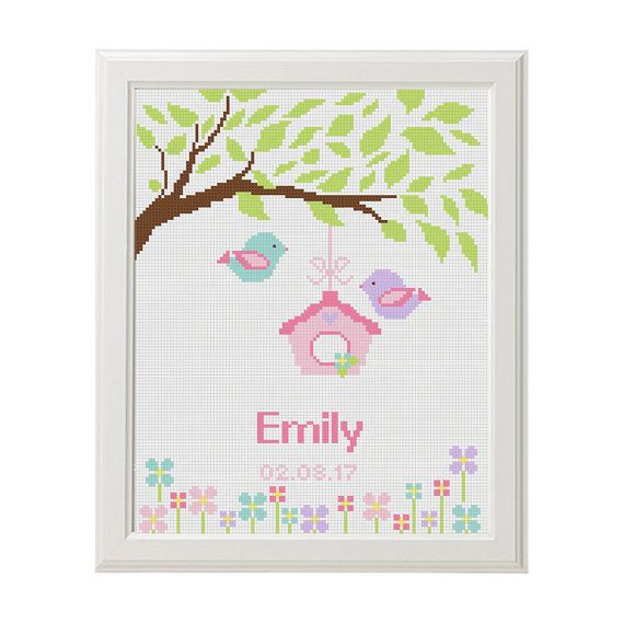 Newborn Baby Cross stitch pattern Tree Bird от AnimalsCrossStitch