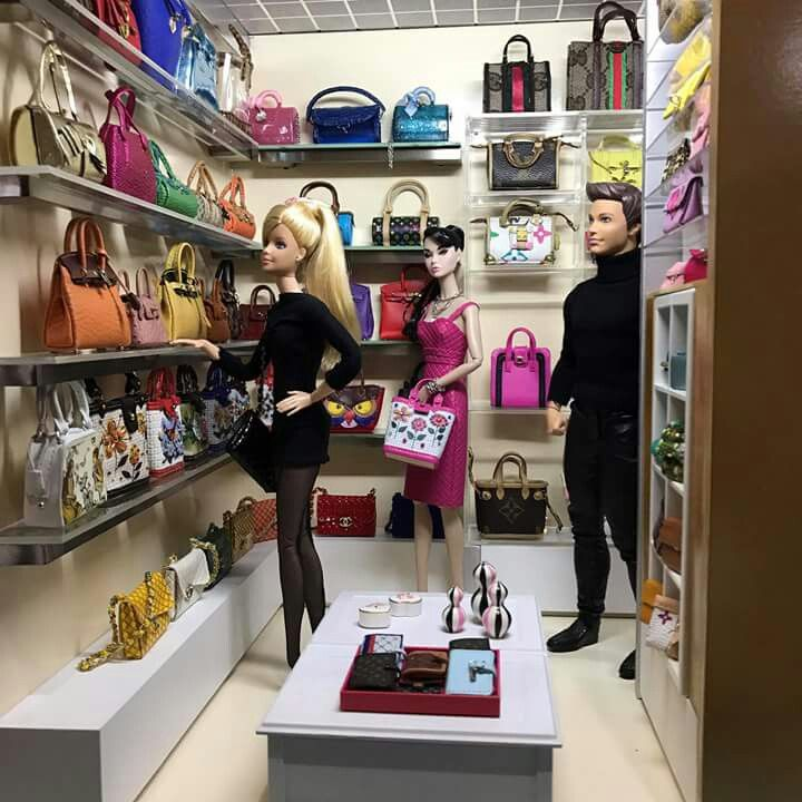 Barbie shopping for handbags.
