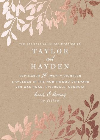 fall in love customizable foil pressed wedding invitations in brown by angela thompson